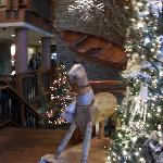 Christmas decor in lobby at Alderbrook