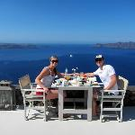 Breakfast overlooking the Caldera
