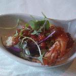 An amazing shrimp and grits amuse bouche served at a special tasting menu.