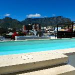 small roof-top pool with Table Mountain view