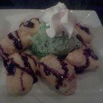 Deep fried cheesecake/green tea ice cream
