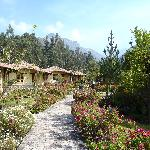 Bungalows and Mountain Backdrop