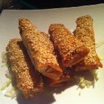 shrimps spring rolls with sesame seeds, coriander and vegetables