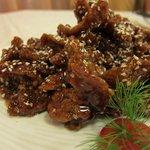Crispy beef fillet with sesame seeds