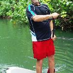 truly paddling on a jungle river