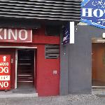 """Here's the entrance for the """"hotel"""" next to the entrance for the sex show."""