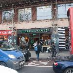 Starbucks as seen from busy Euston Road