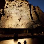 Cliffside Mineral Pools at night