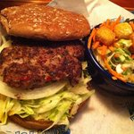 Big wave turkey burger with salad
