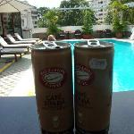 Poolside. We bought the iced coffee from a store, but you may order from the waiter cafe suada.