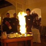 cooking my crepe suzette in Plaisirs