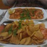 """The prawns and """"side order"""" of chips!"""