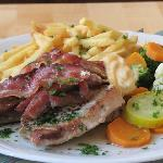 meat: porc chops, steak and bacon