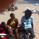 On the beach with a local jeweller