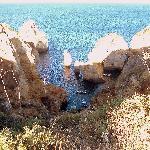 Ponta da Piedade, las barcas y la escalera.