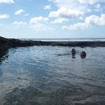 Tony and Elena swimming in tidal pool 20 minute walk down the beach