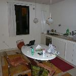The adjoining kitchen
