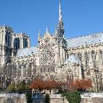 Side view of Notre Dame Cathedral