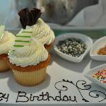 Happy birthday cupcakes with toppings