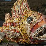 A fish sculpture create from plastic pollution pulled from the Pacific Ocean
