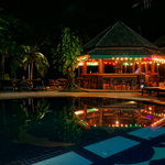 Pool and bar by night