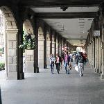 Walkways bordering two sides of the Zocalo.