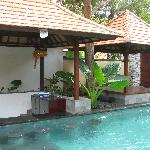The pool and yoga area