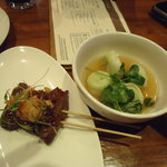 Korean BBQ short ribs satay and edmame dumplings!