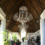 Lobby area, love those huge chandeliers!