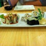 lobster roll, California roll and avocado roll