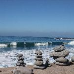 Stone sculptures along the beach nearby