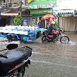 Accross the street when there's too much water