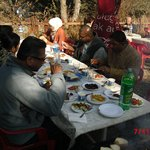 Enjoying Barbeque meal