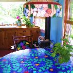 One of Maya's painted tables at The Londonderry Inn