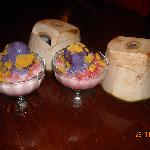 Desserts...ice cream in coconut, halo halo