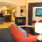 The lobby features a nice fire place and clean, modern design.