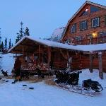 Rental cabin and friendly dog musher who passed through. Main lodge scene in the background