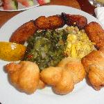 Breakfast at Kuyaba- ackee & saltfish w/ fried plantains & dumplings & calaloo