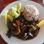 Dinner at Kuyaba-  Brown stew chicken and rice & peas