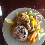 Dinner at Kuyaba- Steamed snapper w/ rice & peas