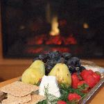 A warm fire and a cheese platter