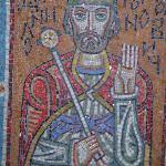 mosaic of an Orthodox saint in the Kiev metro