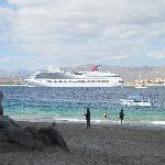 Lover's Beach - View of Cruise Ship in Port