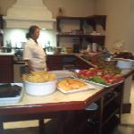 Beautiful dinner prepared by Elaine the chef served insuite