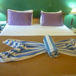 Home keeping had arranged our towels to form butterflies!