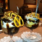Two custom tasty sundaes with homemade hot fudge and peanut butter sauce