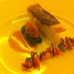 Crispy Sauteed Sea Bass with Marinated Sorrel & Carrots, Roasted Salad and Sauce of Confit Veget
