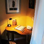 A small desk in the Colter room.