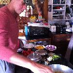 My son making Chapati