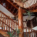 Beautiful wood staircase in main building